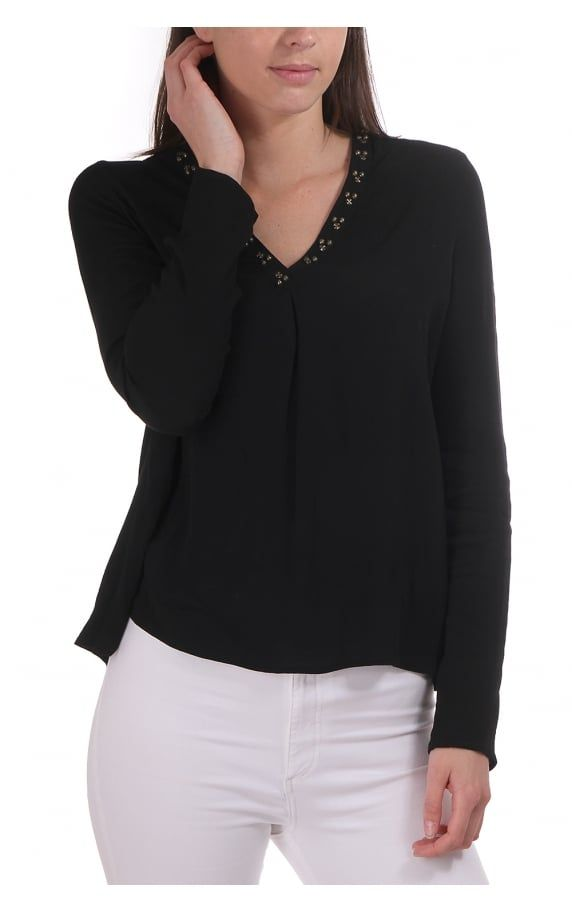 Maison Scotch V Neck Ls Blouse With Detail Around The Neck Black