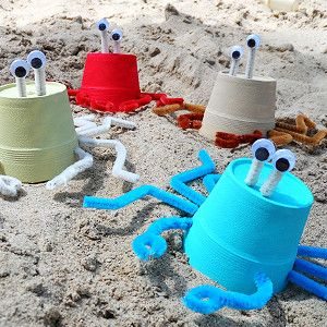 I'm in love with these Styrofoam Cup Crabs. Beach crafts for kids are perfect during the summer!