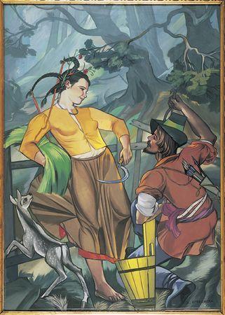 Zofia Stryjeńska, Dziewczyna i myśliwy, ok. 1932, Źródło: MNK