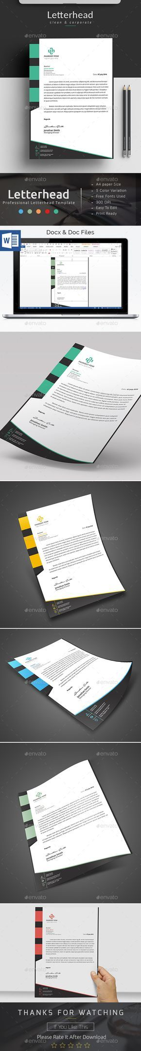 9 best Letterhead images on Pinterest Letterhead, Contact paper - ms word letterhead templates free download