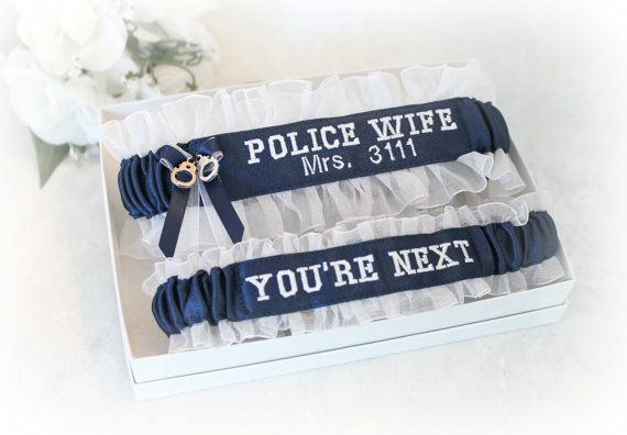 Handcrafted Embroidered Police Wedding Garters  by CreativeGarters