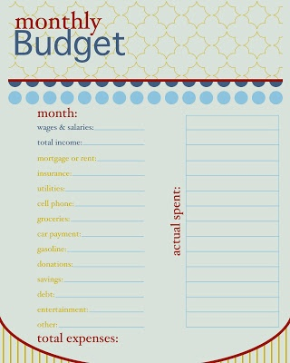 printable budget sheet - how cute is this! also has a low-ink version