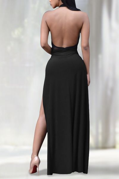 Sexy Round Neck Sleeveless High Split Backless Black Qmilch Ankle Length Dress_Dresses_LovelyWholesale | Wholesale Shoes,Wholesale Clothing, Cheap Clothes,Cheap Shoes Online. - LovelyWholesale.com