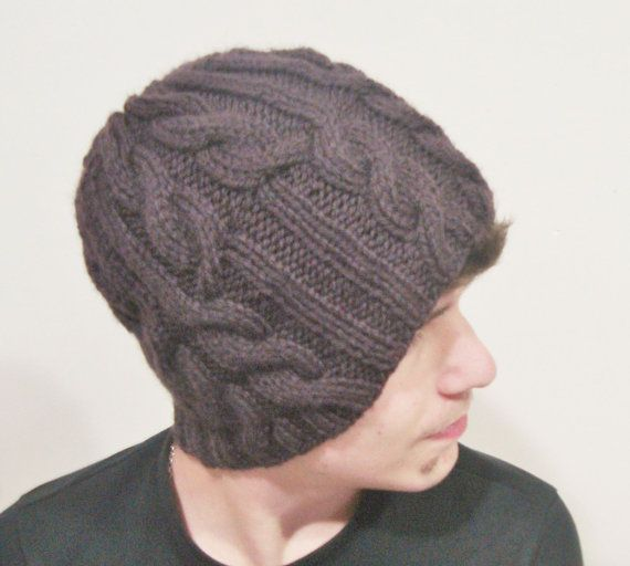 Hand knit Hat for Men Hat Beanie Coffee Man Beanie by earflaphats, $34.99