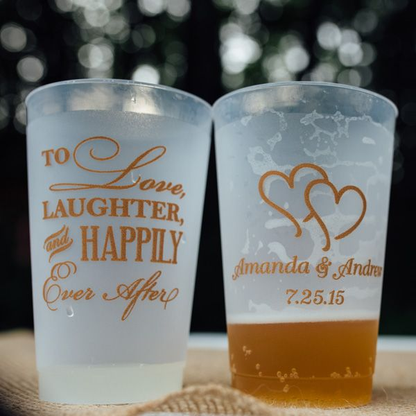 24 oz. frosted plastic cups printed on both sides, the front with design 1224 and two lines of text in Simple lettering style and the back with design 2223, all in Light Brown imprint color. Photo courtesy of Time Bandit Photography