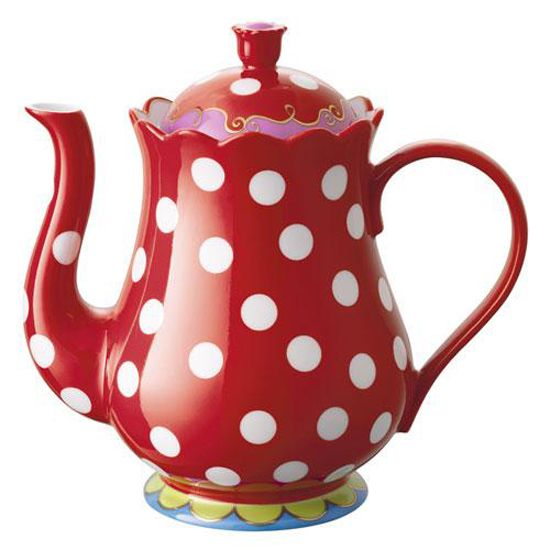 Red polka dot tea pot - so cute!