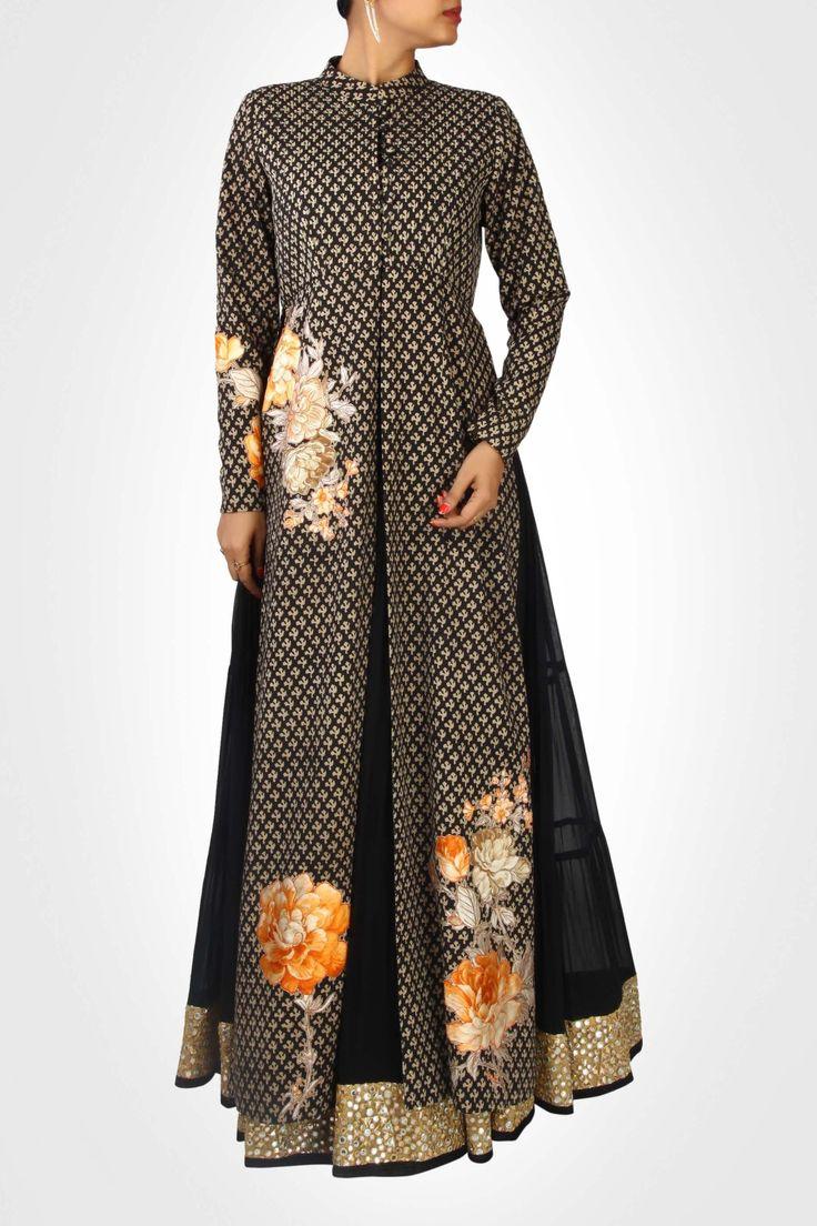 Black lehenga with dabu printed jacket style