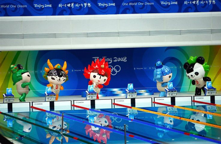 """Beijing, 2008: The Fuwa  Collectively known as the Fuwa (Chinese for """"good luck dolls""""), the five mascots of the Beijing Olympics corresponded to the five Olympic rings, as well as to five Feng Shui elements. From left, there was Nini, a swallow; Yingying, a Tibetan antelope; Huanhuan, the Olympic flame; Beibei, a fish, and Jinging, a giant panda. The five names form the Chinese phrase """"Beijing huan ying ni,"""" which means """"Beijing welcomes you."""""""