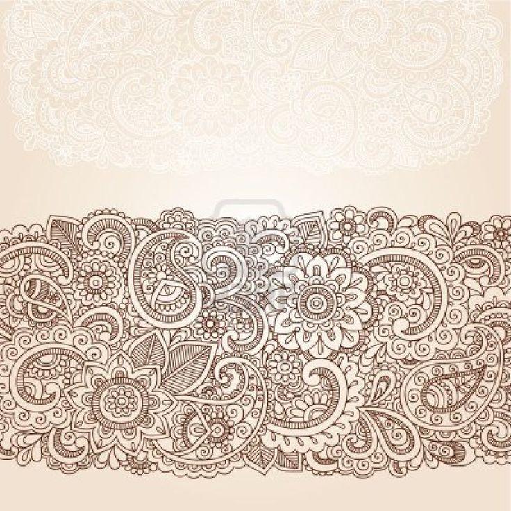 Henna Flowers and Paisley Mehndi Tattoo Edge Design Doodle Stock Photo - 16693321