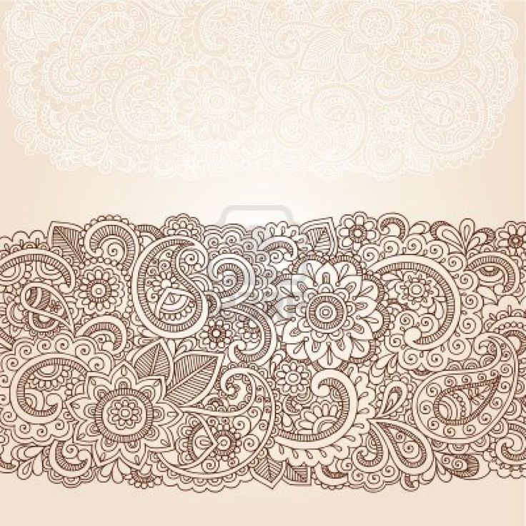 Henna Flowers and Paisley Mehndi Tattoo Edge Design Doodle Stock Photo - 16693321