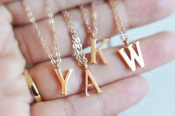 Initial necklace  rose gold stainless steel by RabbitsFantasyWorld