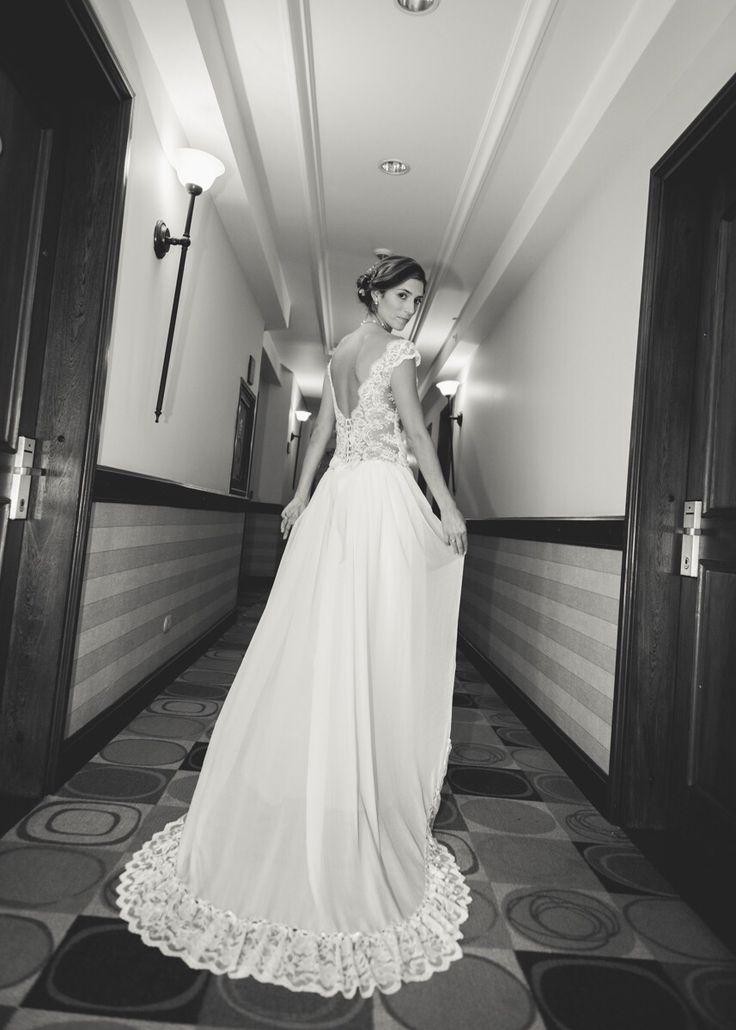 Vestido de novia encaje y chifon