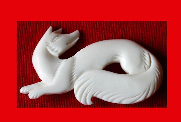 Fox Russian Art Jewelry Hand Carved Brooch Pin Broach Fox Fox Fox Pin Lady USA