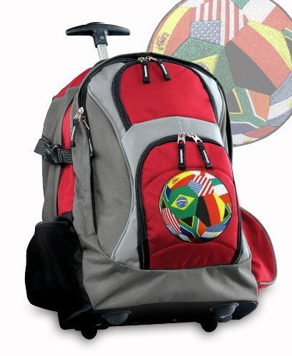 World Soccer Flag Ball Rolling Backpack Deluxe Red Soccer Design - Best Backpacks Bags with Wheels or School Trolley Bags Suitcase Carry-Ons - Unique Gifts! Broad Bay. $63.99. Save 29% Off!