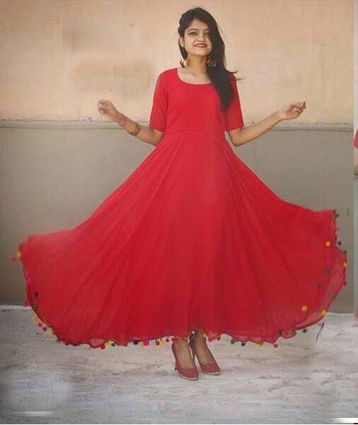 Partywear Red Colour Georgette Full-Stitched Anarkali  18675263e
