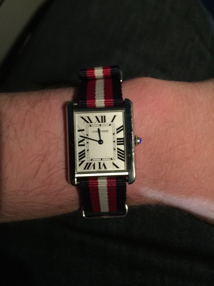 This is my Cartier Tank Solo in the large size. I have been experimenting with NATO straps on formal watches. This is probably my favorite combo so far, I love the dichotomy between the Art Deco lines of the Tank and the sporty casual strap.
