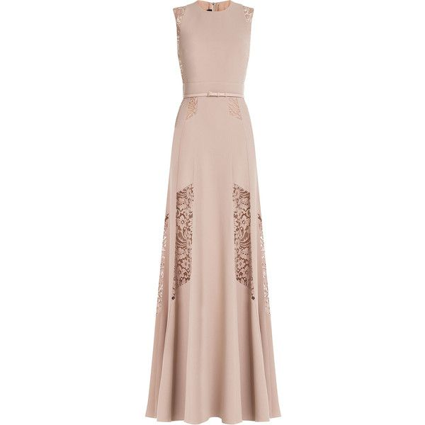Elie Saab Floor-Length Gown ($5,760) ❤ liked on Polyvore featuring dresses, gowns, gown, elie saab, rose, floor length gown, sheer lace gown, pink lace gown, pink rose dresses and pink lace dress