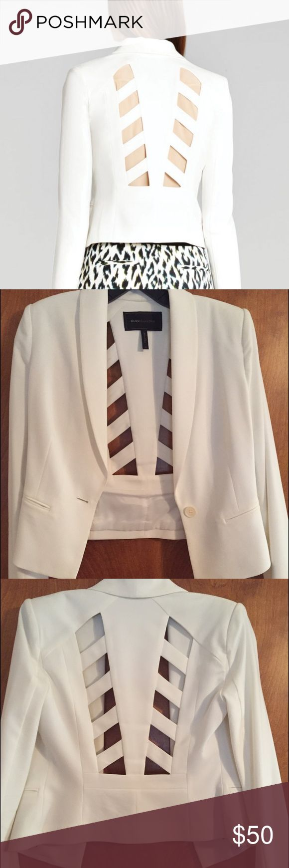 BCBGMaxAzria White Cut-out Back Blazer Lightly worn blazer with cut-outs on the back. Cropped fitting. No stains or discoloration. BCBGMaxAzria Jackets & Coats Blazers