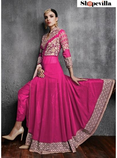 Royal Magenta Georgette With Embroidery Work Front Open Anarkali Suit-11003-D
