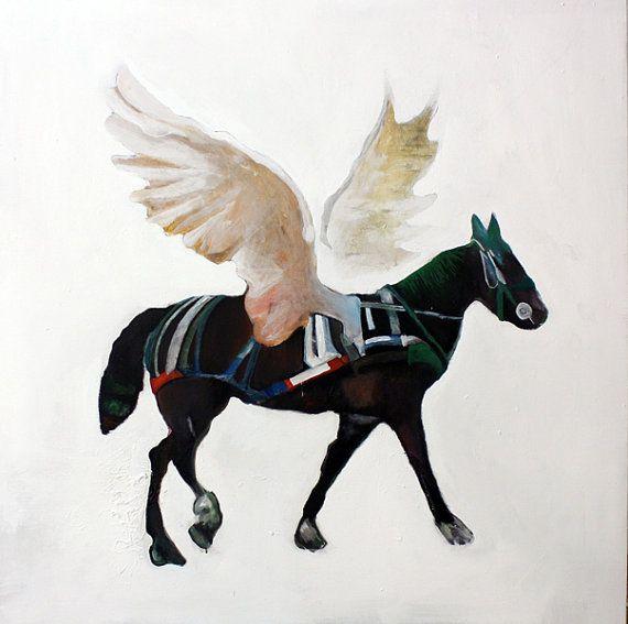 Pegaso- Acrilico su tela- telaio in legno-opera unica- Fausto Fiato-100x100 cm- cavallo alato. bianco, nero, marrone, verde, rosso