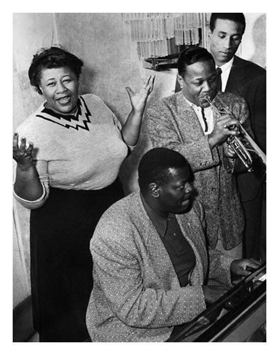 Ella Fitzgerald, Oscar Peterson, Roy Eldridge and Max Roach – Bettmann archive via @Ken