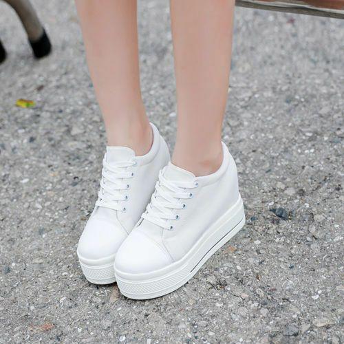 New Women Platform Hidden Wedge high heel Canvas Lace up