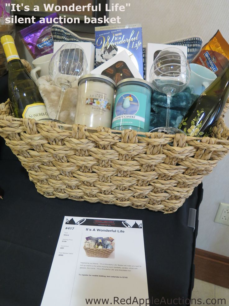 """Themed basket.  The fundraising auction theme was """"It's a Wonderful Life"""" #AuctionThemes"""