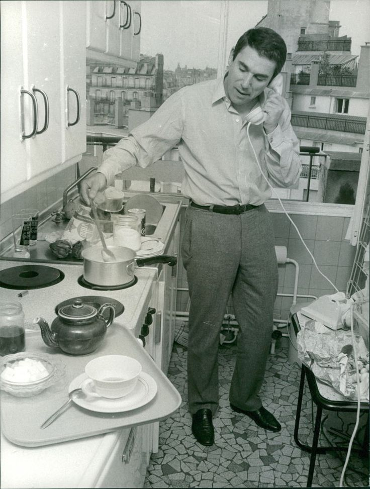 Vintage Photo of Robert Hossein Working in Kitchen While Talking on The Telephon | eBay
