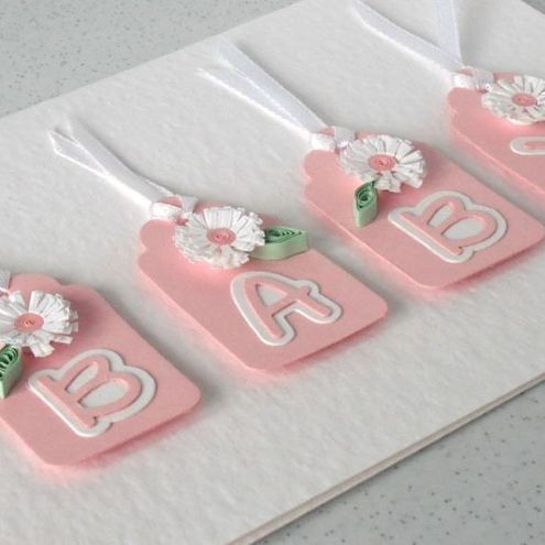 Quilled new baby girl birth congratulations card