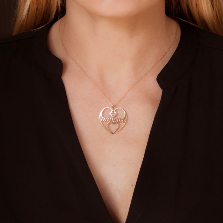 Amour heart neckalce is a love message you can gift to your dearest Woman - in silver or gold-plated version. #lilou #amour #heart #necklace #love #international #womensday