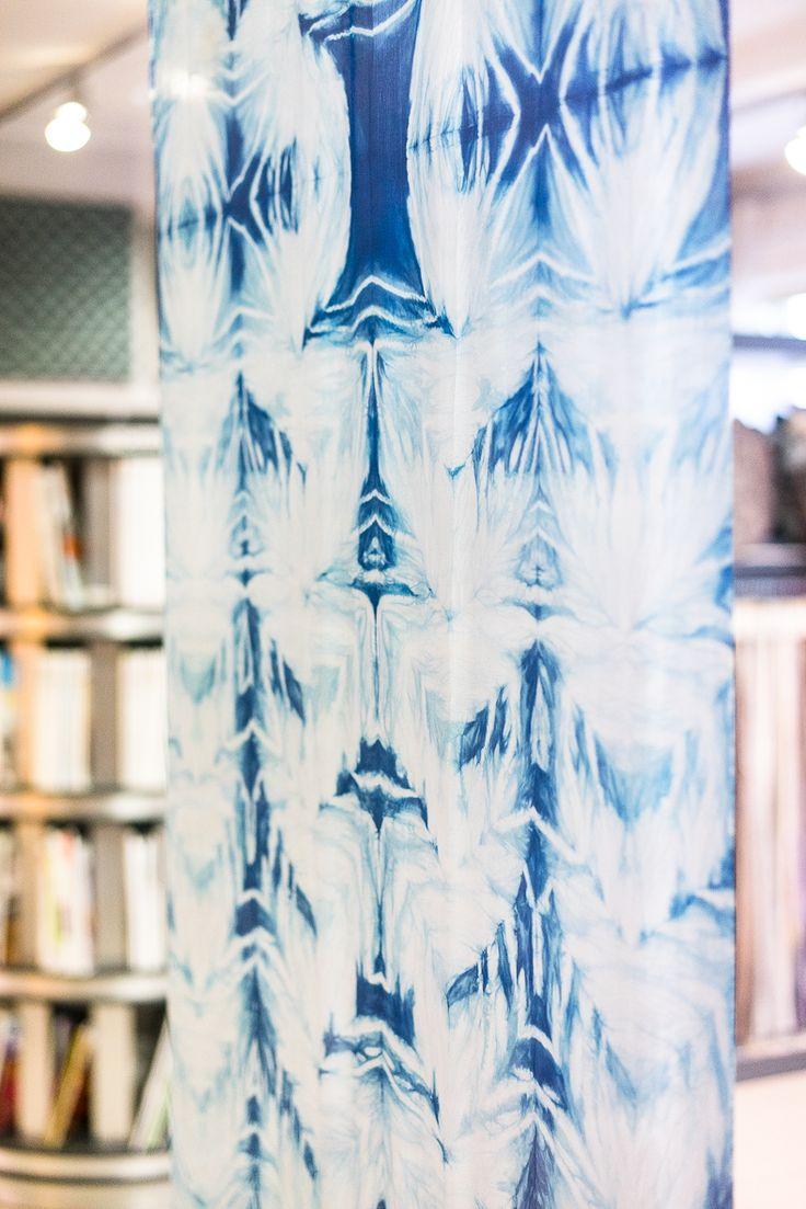 Bryza (pol. breeze), silk material died in indigo, technique: shibori and own by Katarzyna Schmidt-Przewoźna for Dekoma
