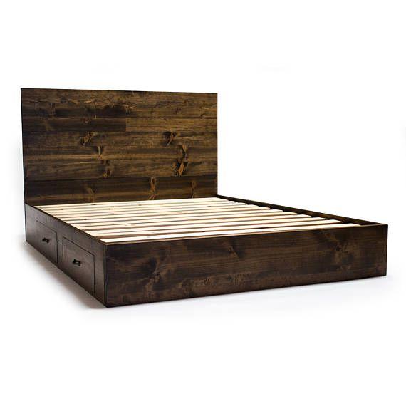 Marco de cama de plataforma con cajones y cabecero moderno /