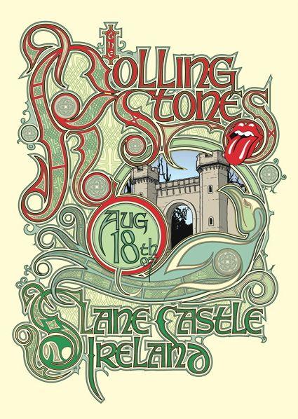 #Rolling #Stones gig poster.: Design Inspiration, Concerts Poster, Dublin Ireland, The Rolls Stones, Stones Poster, Castles Concerts, Concert Posters, Slane Castles, Poster Prints