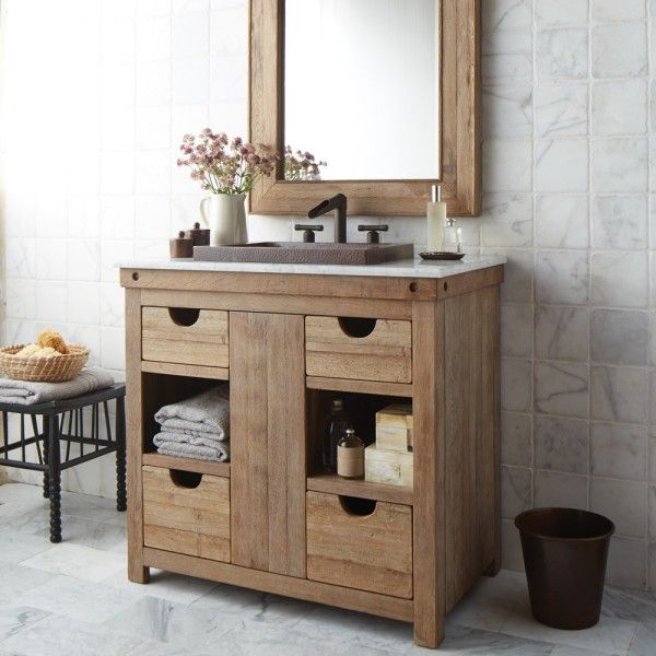Image Of Witching Reclaimed Wood Furniture Bathroom Vanity For Unfinished Oak Cabinets With Hammered Copper Undermount
