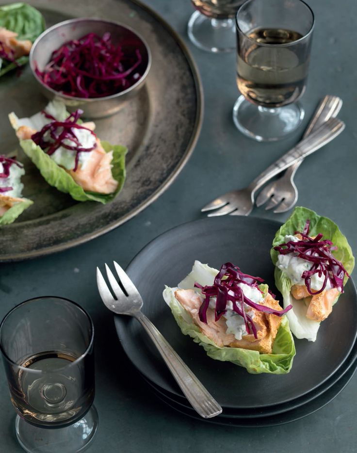 Salmon tikka lettuce wraps recipe from I Love Curry by Anjum Anand | Cooked.com