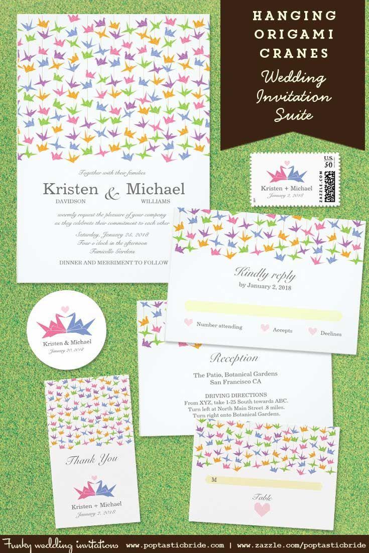 Paper cranes wedding invitations | origami cranes wedding invites ...