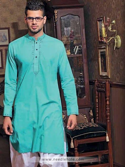 Cotton Shalwar Kameez for Men, Embroidered Collar, Neck and Sleeves, Light Tiffany Blue