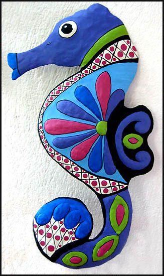 Garden Collection Tropical Seahorse Wall Art - Blue & Magenta Beach Decor   Nautical Decor   Tropical Decor   Coastal Decor