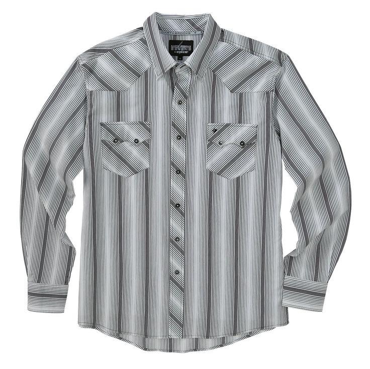 Cinch Garth Brooks Sevens Black & White Stripe Long Sleeve Shirt