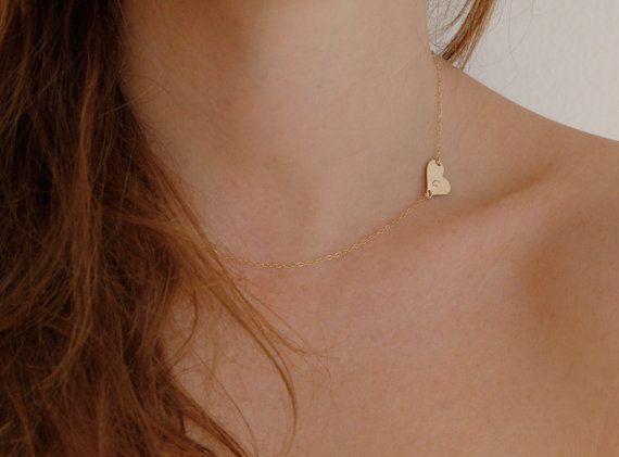 Sideways Heart Necklace Initial Heart Necklace by MinimalVS, $33.00
