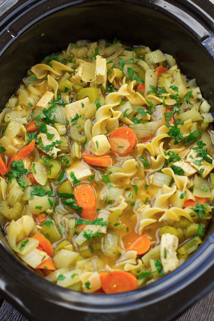 Chicken Noodle Soup {Slow Cooker} Toss everything into the slow cooker and sit back. This warm, comforting soup cooks itself!