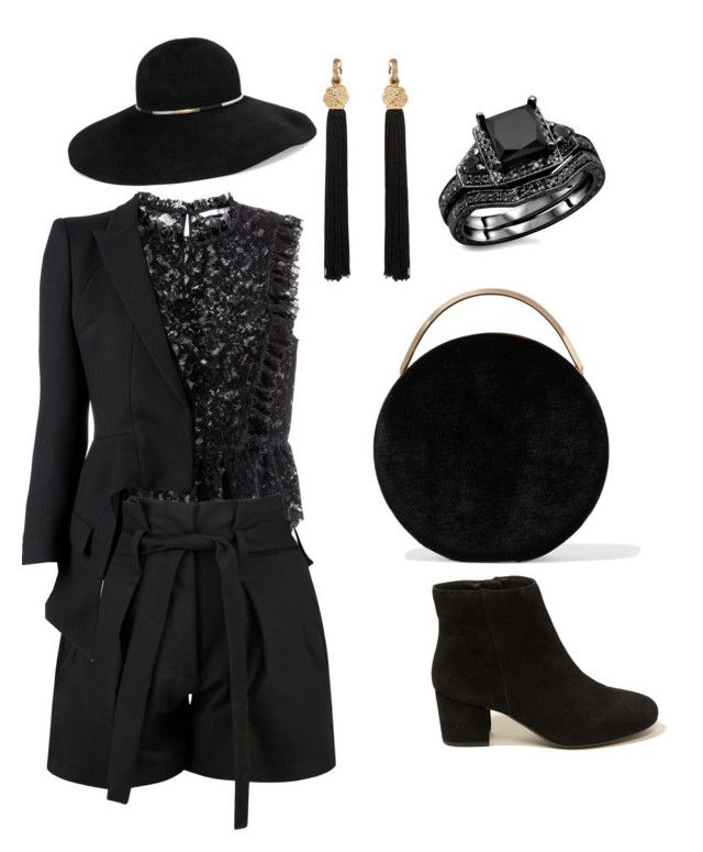 All black by iioanak on Polyvore featuring polyvore fashion style H&M Alexander McQueen Boohoo Hollister Co. Eddie Borgo Yves Saint Laurent Eugenia Kim clothing