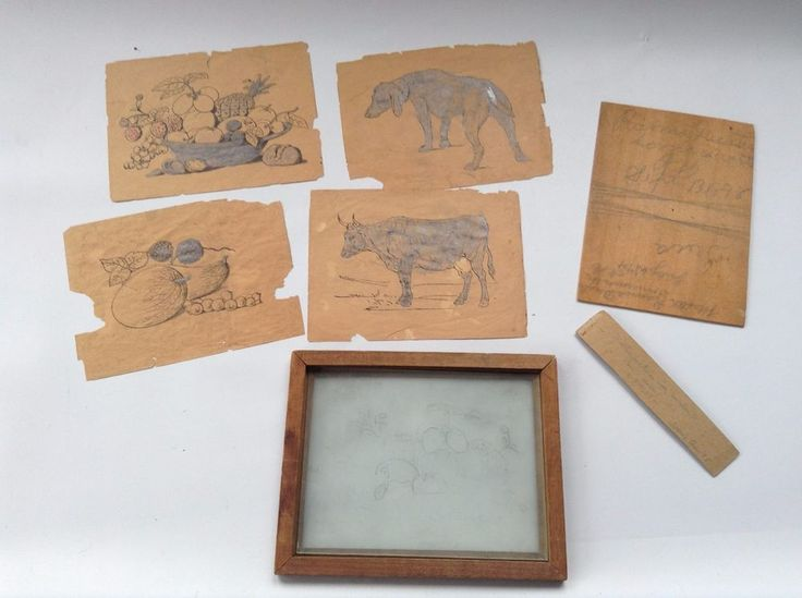 Antique Wood Framed Sketch Tablet - Glass Tracing Board dated 1898 w/ old paper
