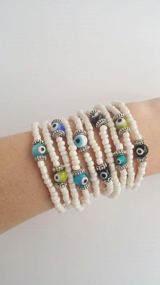 Beaded+bracelet++stretch+bracelet++Whitel+Summer+by+TresJoliePT