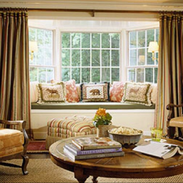 Bay Window Treatment Idea For Living Room