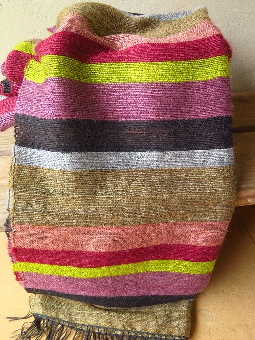Colourful striped mohair blanket