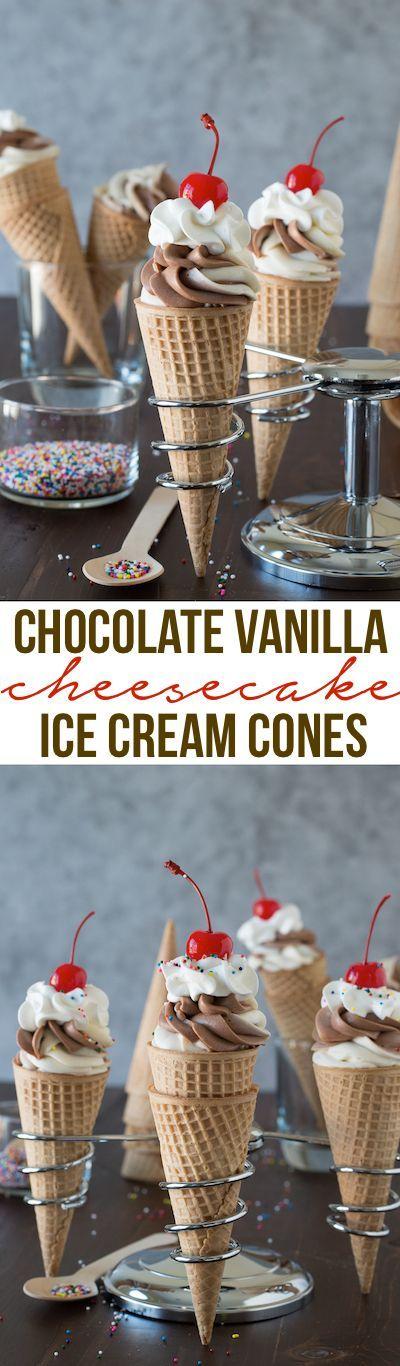 Chocolate Vanilla Cheesecake Ice Cream Cones No Bake