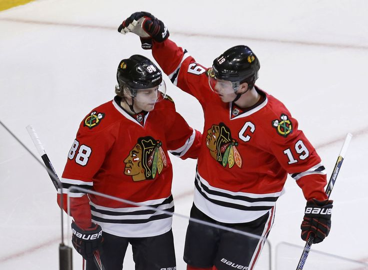Patrick Kane and Jonathan Toews, teammates with the Chicago Blackhawks but pinned against each other in a battle for accuracy shooting supremacy in Saturday's NHL Skills Competition. Bragging rights go to Kane. 'Showtime' hit all four targets in a time of 13.529 seconds, which was the quickest time among the eight shooters in the competition. Toews completed the competition in 16.307 seconds. Toews did wire three straight pucks square off the post, narrowly missing the target.