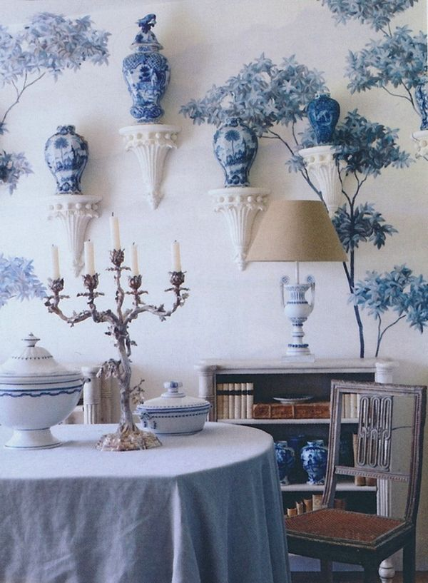 blue & white floral wallpaper with blue Chinoiserie vases placed on ....