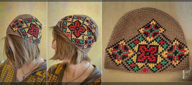 embroidered hat in Ukrainian style, crochet  #crochet #hat #pattern#cross stitch#embroidered#